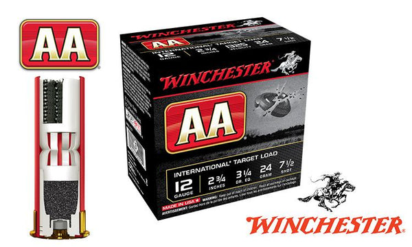 "<b>(Store Pickup Only)</b><br>12 Gauge, Winchester AA International Target Load, #7-1/2, 2-3/4"", 24 grams 1325 fps, Case of 250 #AANL127-CASE"