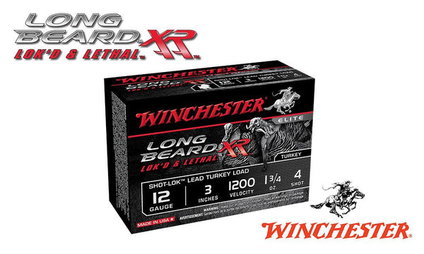 "12 Gauge, Winchester Elite Long Beard XL Turkey Shells, 3"", 1-3/4 oz., #4 Shot, 1200 fps, Box of 10 #STLB1234"