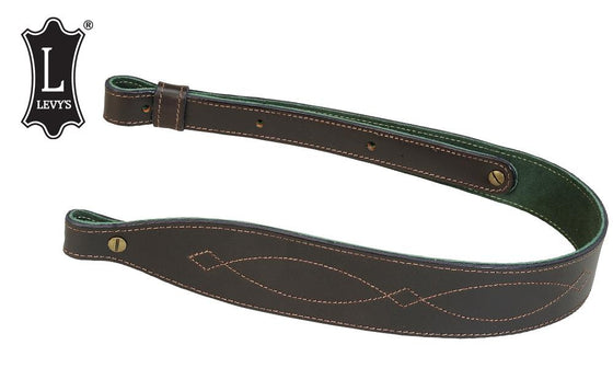 "Levy's Leathers Leather Cobra Rifle Sling With Decorative Stitching, 28"" - 37"" Black #SN22D1-DBR"
