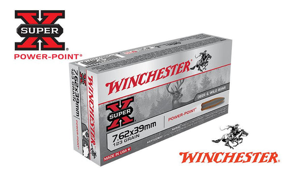 <b>(Store Pickup Only)</b><br>Winchester Super X, 7.62x39, Power Point, 123 Grain Box of 20 #X76239