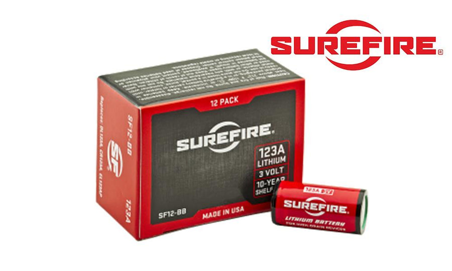 SureFire CR123A Lithium Batteries, Pack of 12 #SF12-BB