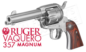 "Ruger Vaquero Stainless Single-Action Revolver, 4-5/8"" Barrel .357 Magnum #5109"