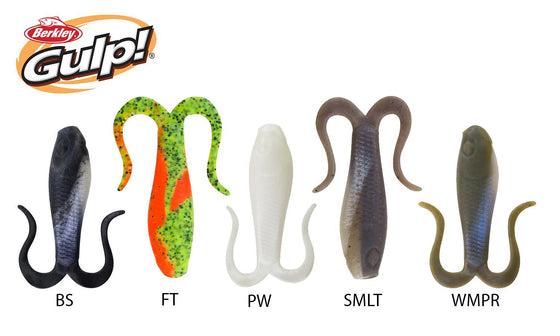 Berkley Gulp! Doubletail Minnow Grub, Size 4, Various Colours #GDTG4