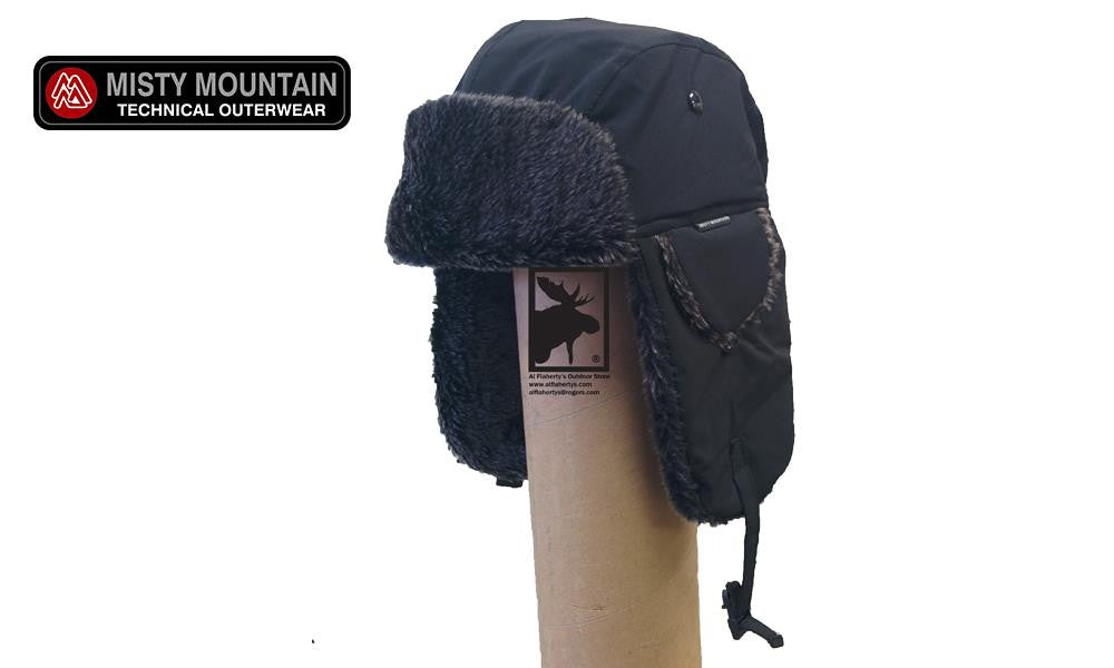 Misty Mountain Softshell Bomber Hats, Black, Various Sizes #512
