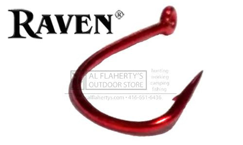 Raven Sedge Supreme Hooks, Red Finish, Sizes 14 to 8, Pack of 25 #RVSR