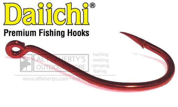 Daiichi Octopus Wide Gap Hooks, Bleeding Bait Red, Size 10 to 4/0 #D16Z