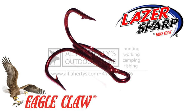 Eagle Claw Lazer Sharp 3X Treble Hooks, Red Finish, Sizes 10 to 2, Packs of 20 #L934RDT