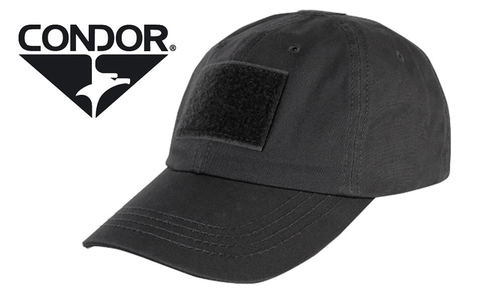 Condor TC Tactical Cap - Black with Patch Panels