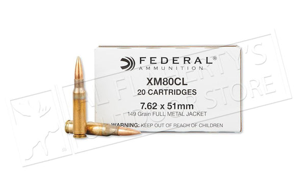Federal XM80CL 7.62x51mm 149 Grain FMJ Ammunition, Box of 20