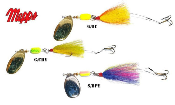 Mepps Trolling Rig, Bucktail Dressed Treble with Trailer Hook, 3/16 oz. #TR3BT