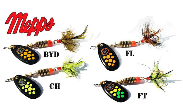 Mepps Black Fury Spinners, Inline, Dressed Treble Hook, Size 3, 1/4 oz. #BF3D