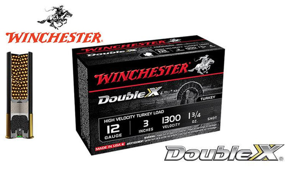 "<b>(Store Pickup Only)</b><br>12 Gauge, Winchester Double X High Velocity Turkey Shells, 3"", 1-3/4 oz. #4, 5, 6 Shot, 1300 FPS, Box of 10 #STH123"