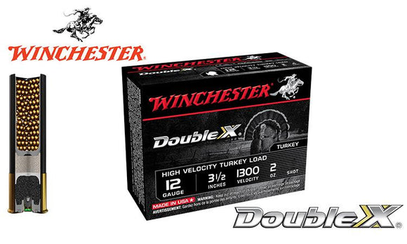 "<b>(Store Pickup Only)</b><br>12 Gauge, Winchester Double X High Velocity Turkey Shells, 3.5"", 2 oz. #4, 5, 6 Shot, 1300 FPS, Box of 10 <br>#STH1235x"