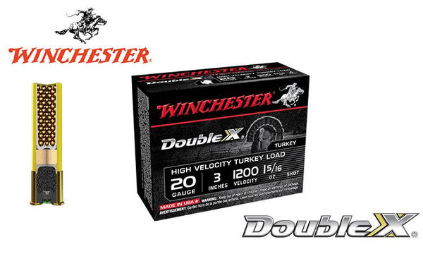 "<b>(Store Pickup Only)</b><br>20 Gauge, Winchester Double X High Velocity Turkey Shells, 3"", 1-5/16 oz. #4 & 5 Shot, 1200 FPS, Box of 10 <br>#STH203x"
