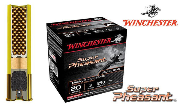 "20 Gauge - Winchester Super Pheasant Shells, 3"" Copper Plated 4/5/6 Shot, Boxes of 25 #X203PH"