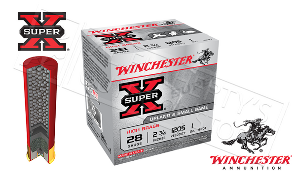 "#X28H - Winchester Super X Upland High Brass Shells, 2-3/4"" #6 or #7-1/2  Shot, Box of 25"