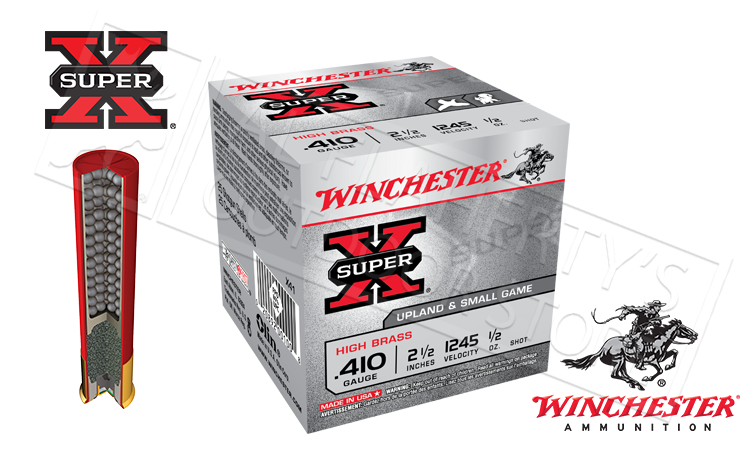 "#X414 #X416 #X417 - Winchester Super X Upland & Small Game Shells, 2-1/2"" #4 #6 or #7-1/2  Shot, Box of 25"