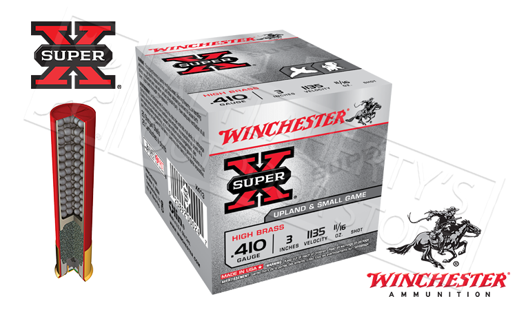 "#X413 .410 Gauge - Winchester Super X Upland & Small Game Shells, 3"" #4 #6 or #7-1/2  Shot, Box of 25"