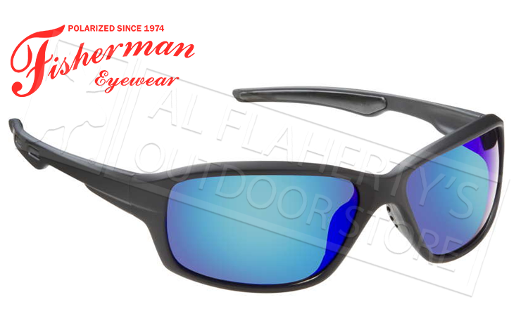 Fisherman Eyewear Dorado Polarized Glasses, Matte Black Frame with Blue Mirror Lens #50290031