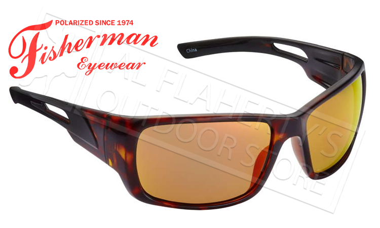 Fisherman Eyewear Hazard Polarized Sunglasses, Tortoise with Red Mirror Lens #50460222