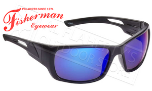 Fisherman Eyewear Hazard Polarized Sunglasses, Black with Blue Mirror Lens #50460031