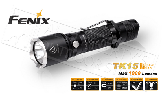 Fenix TK-Series TK15 Ultimate Edition Flashlight, 1000 Lumens #TK15UE