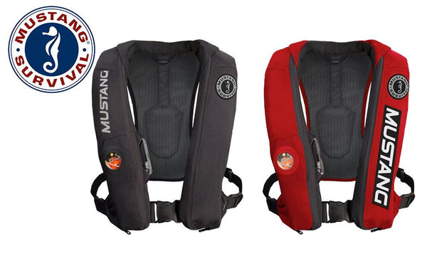 Mustang Elite Inflatable PFD (Automatic), Black or Red, Universal Sizing #MD5153