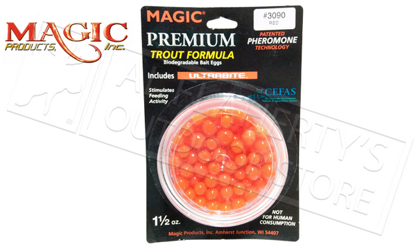 Magic Products Premium Trout Formula Biodegradable Bait Eggs, Red, 1-1/2 oz. Jar #3090