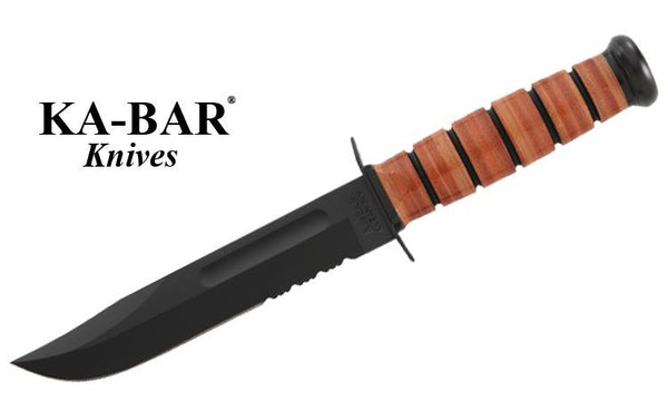 KA-BAR FUll Size USMC KA-BAR with Serrated Edge, Leather Sheath #1218