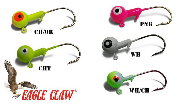 Eagle Claw Ball Head Jigs, 1/32 oz. Various Colours, Pack of 10 #JBxx132A