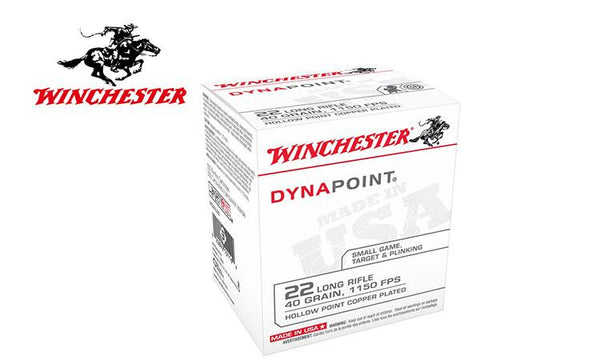 Winchester Dynapoint Ammunition 22 Long Rifle 40 Grain Copper Plated  Hollow Point Box of 500 #WD22LRB