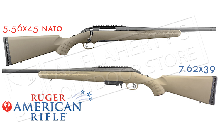 Ruger American Ranch Rifle FDE in 5.56x45 or 7.62x39 with Threaded Barrel