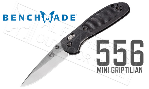 Benchmade 556 Mini-Griptilian by Pardue Design, Plain Edge, Satin Finish, Thumbstud #556