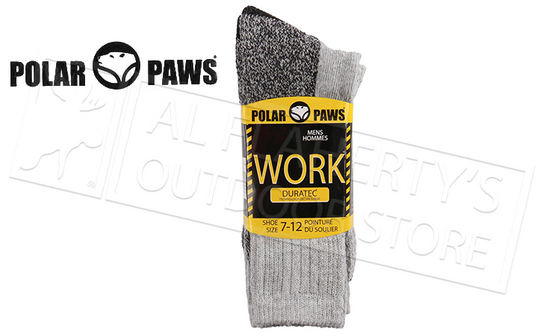 Polar Paws Duratec Anti-Microbial Work Socks, 2-Pack Size 7-12 #201580