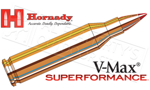 Hornady  #8343 .243 WIN Superformance, V-Max 58 Grain Box of 20