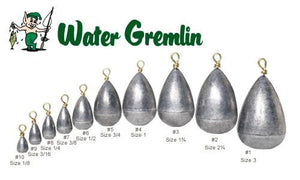Water Gremlin Dipsey Swivel Sinkers, Zip Lip Packs, Sizes 10 to 1 #PDS