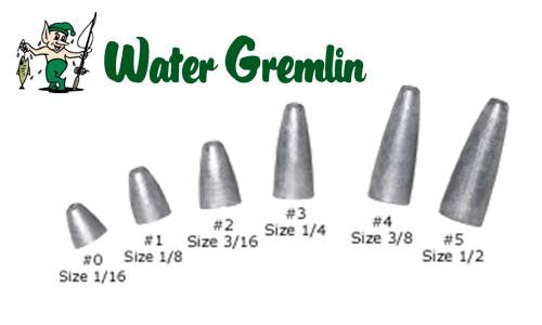 Water Gremlin Low Profile Slip Sinkers, Zip Lip Packs, Sizes 0 to 5 #PSL