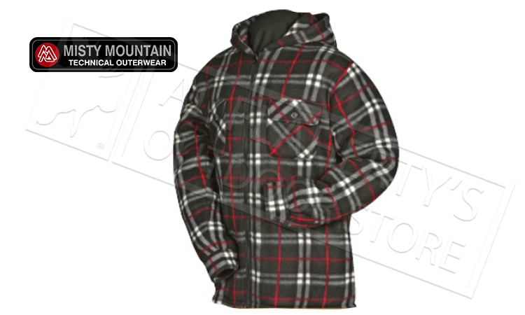 Misty Mountain Sherpa Fleece Print Jacket, Black & Red Print L-2XL #5702