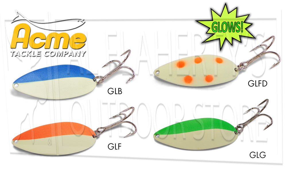 Acme Tackle Little Cleo Spoons #C230 - Glowing 3/4 Oz. Various Patterns