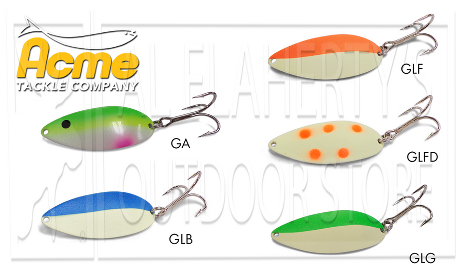Acme Tackle Little Cleo Spoons #C340 - Glowing 3/4 Oz. Various Patterns
