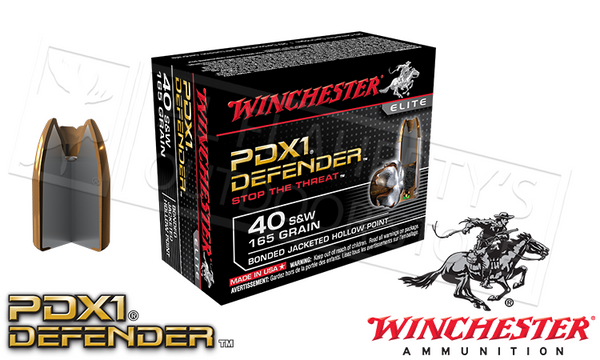 #S40SWPDB Winchester PDX1 Defender .40SW Bonded Jacketed Hollow-Point 165 Grain Box of 20