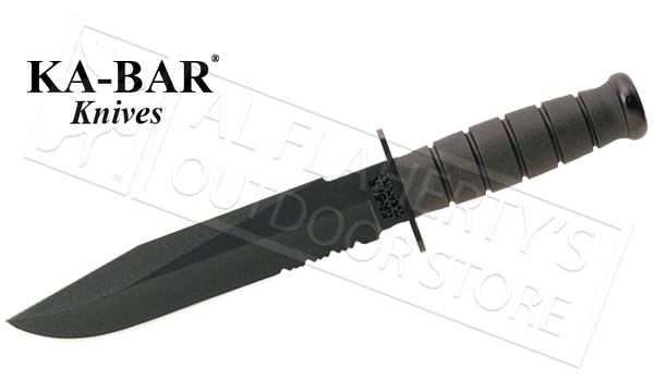 "KA-BAR Black KA-BAR Fighter, 8"" Fixed Blade with Serrations #1271"