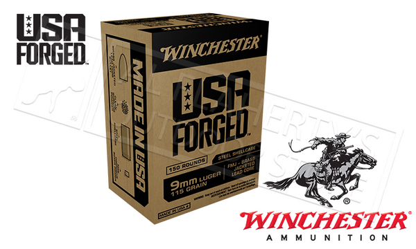 Winchester 9mm USA Forged, FMJ 115 Grain Box of 150 #WIN9S