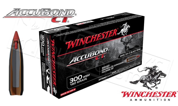 Winchester 300 WSM Accubond CT, Polymer Tipped 180 Grain Box of 20 #S300WSMCT