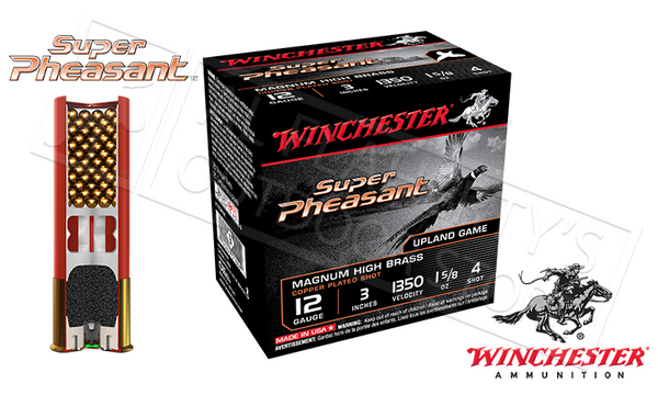 "#X123PH - Winchester Super Pheasant Magnum High Brass Shells, 3"" #4  Shot, Box of 25"