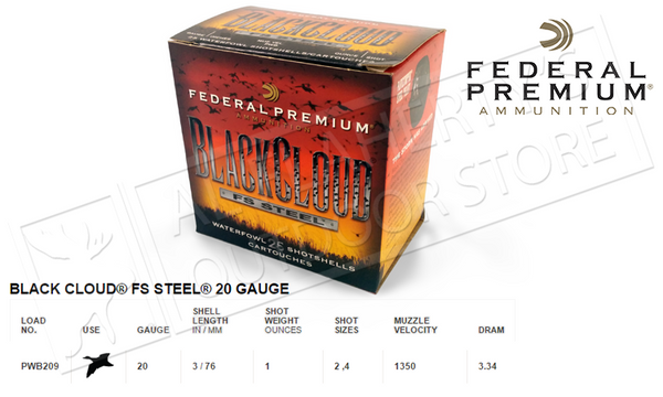 "20 Gauge - Federal Black Cloud FS Steel, #4 or #2 Shot 3"", Box of 25 #PWB209"