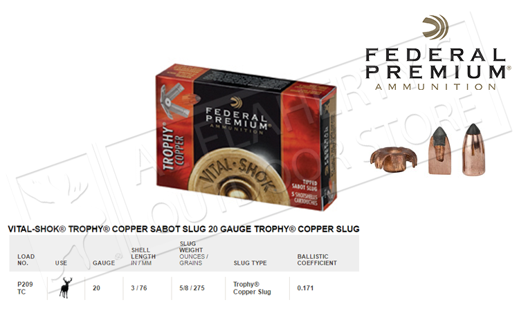 "#P209TC Federal Vital-Shok Trophy Copper Sabot Slugs, 3"" 275 grain Box of 5"