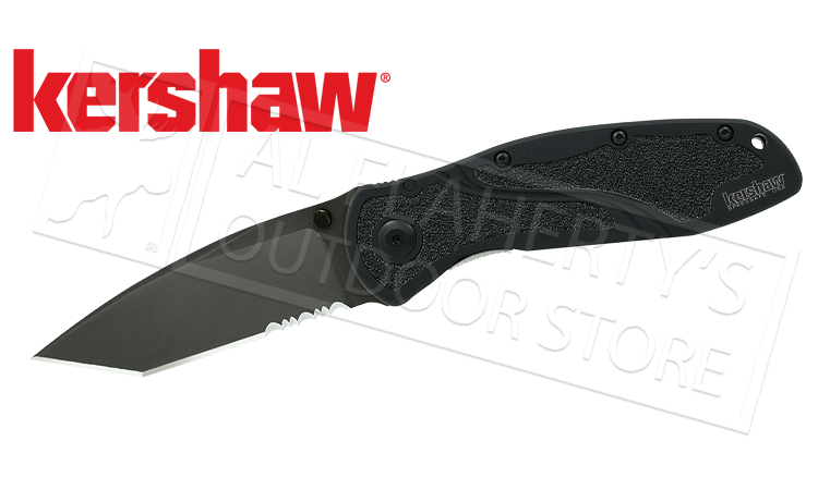 Kershaw Black Blur Folding Knife - Tanto with Serrated Edge #1670TBLKST