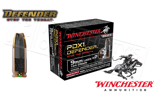 Winchester 9mm +P Defender, JHP 124 Grain Box of 20 #S9MMPDB