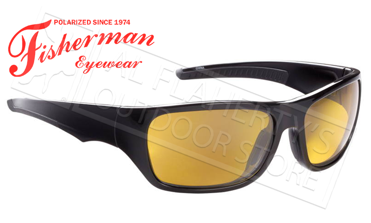 Fisherman Eyewear Backwater Polarized Sunglasses, Black with Amber Lens #50513003